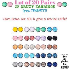 Lot of 20 Pairs of Druzy Earrings